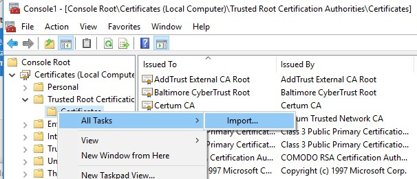 import trusted root certificates using certmgr snapin
