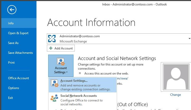 outlook 2016 account settings