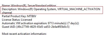 slmgr /dli - VIRTUAL_MACHINE_ACTIVATION channel