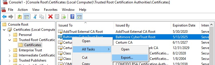 windows 10: exporting root certificate to a cer file