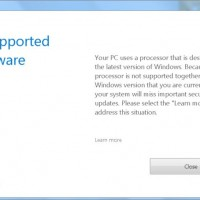 Windows 7 update error Unsupported hardware - the processor is not supported