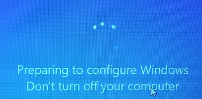 computer stuck preparing to configure windows, Do not turn off your computer