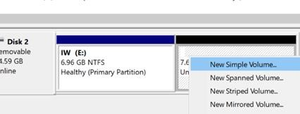 create second partition on a removable drive