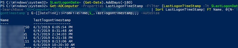 get-adcomputer: search for inactive computers by lastlogontimestamp attribute