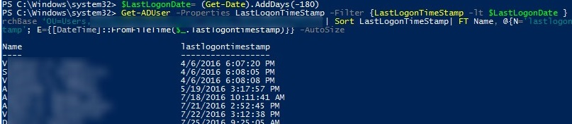 list inactive ad users with powershell