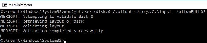 mbr to gpt converting - validation disk