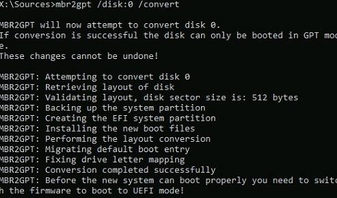 mbr2gpt convert disk partition table during windows setup