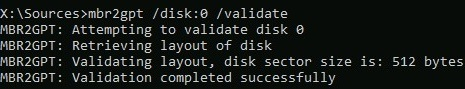 mbr2gpt failed to retrieve geometry for disk