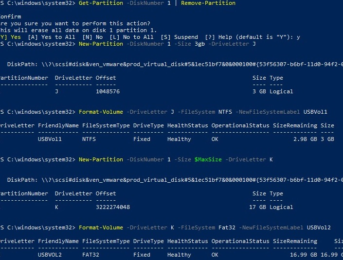 powershell: create two partitions on the usb stick using powershell