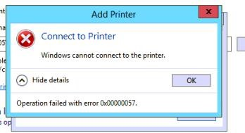 Windows cannot connect to the printer - Operation failed with error 0x00000057