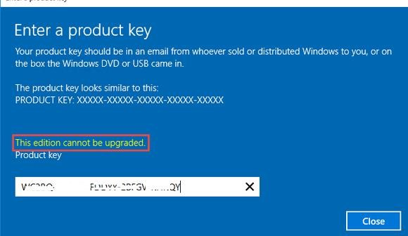 Windows Server 2016: This edition cannot be upgraded