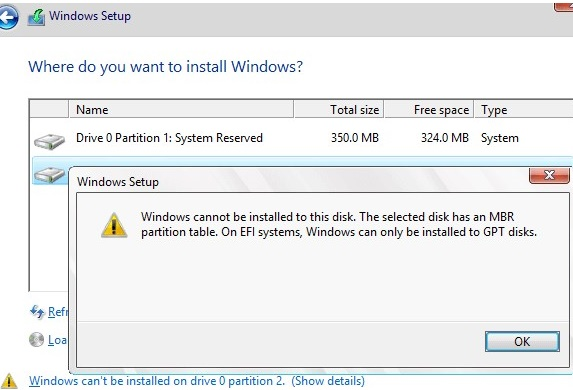 Windows cannot be installed to this disk. The selected disk has an MBR partition table. On EFI system, Windows can only be installed to GPT disks