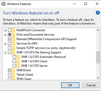 Windows10 feature SMB 1.0/CIFS File Sharing Support