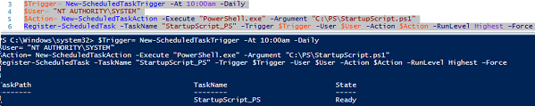 create sheduled task with PowerShell cmdlet Register-ScheduledTask