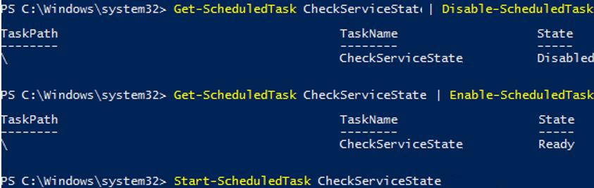 disable/enable/start sheduled task manually