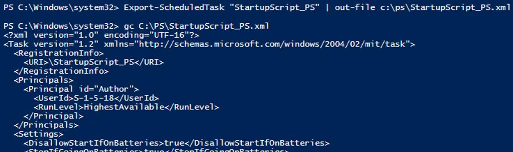Export-ScheduledTask - xml task