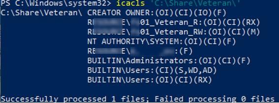 list current folder permissions using icacls.exe