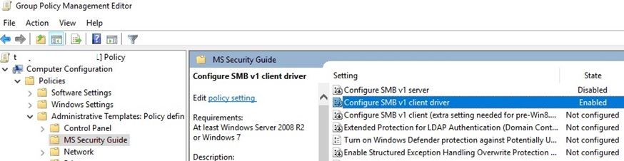ms security guide gpo: disable smbv1 client driver and server
