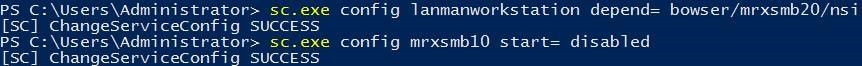 delete smb1 driver on client: sc.exe config mrxsmb10 start= disabled