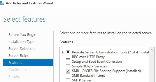 SMB 1.0 / CIFS File Sharing Support feature on windows server 2016