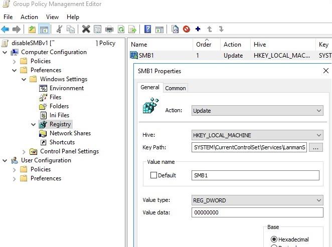 smb1 server disable via gpo