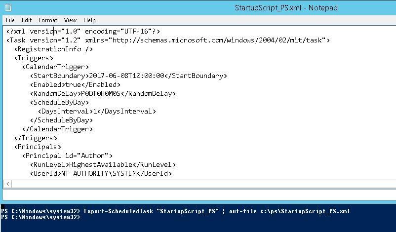 task settings xml file