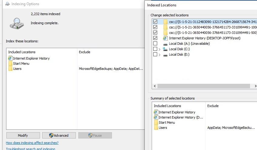 windows 10 set indexing locations