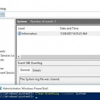 Clear-EventLog –LogName System The System log file was cleared