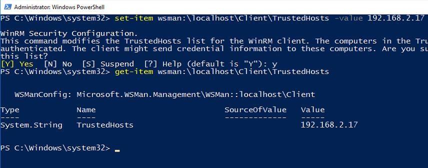 Set-Item WSMan:\localhost\Client\TrustedHosts