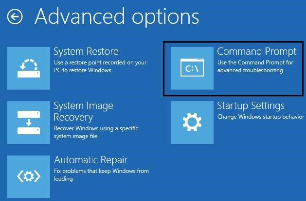 Windows Recovery Environment - run Command Prompt