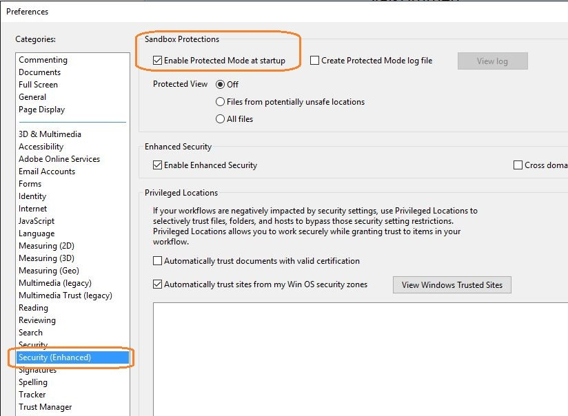 Enable Protected Mode at startup in Adobe Reader