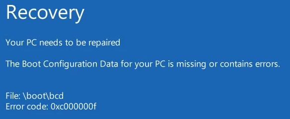 windows 10: boot bcd error 0xc000000f