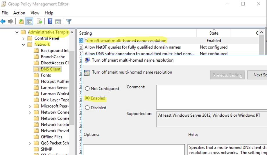 DIsbale LLMNR via GPO: Turn off smart multi-homed name resolution