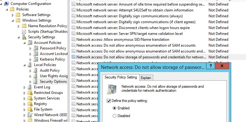 Group Policy:Network access: Do not allow storage of passwords and credentials for network authentication