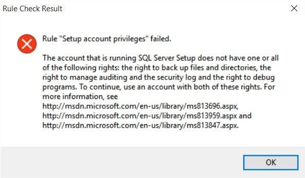 "Rule ""Setup account privileges"" failed."