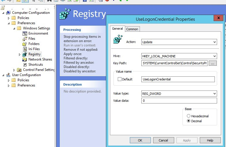 disable wdigest via registry key UseLogonCredential