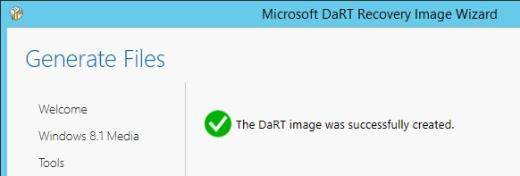 The DaRT image was successfully created