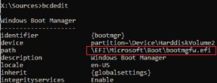 bcdedit: windows boot manager bootmgfw.efi