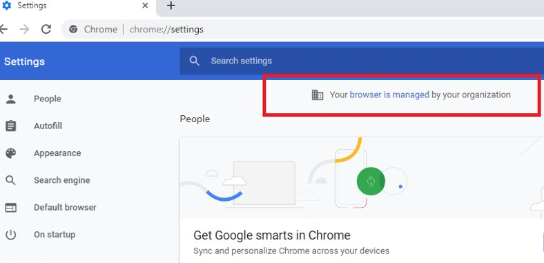 chrome Your browser is managed by your organization