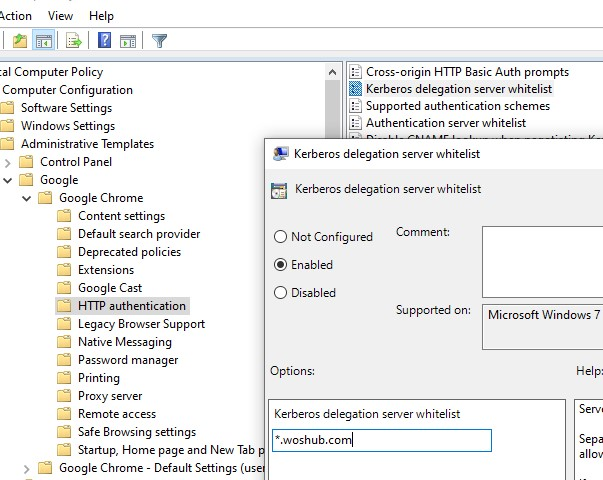 chrome: enable kerberos auth for sites via group policy