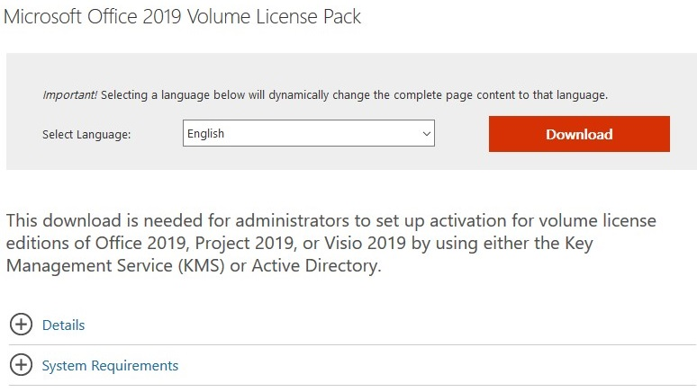 download office 2019 volume license pack