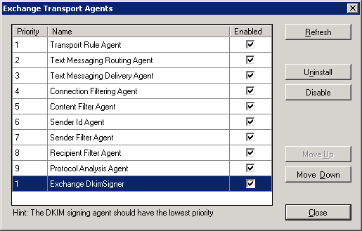 exchange transport agents