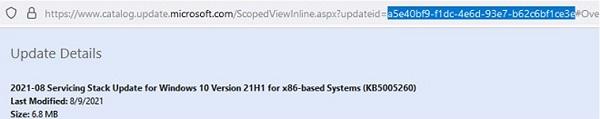 microsoft update catalog: get update id via url