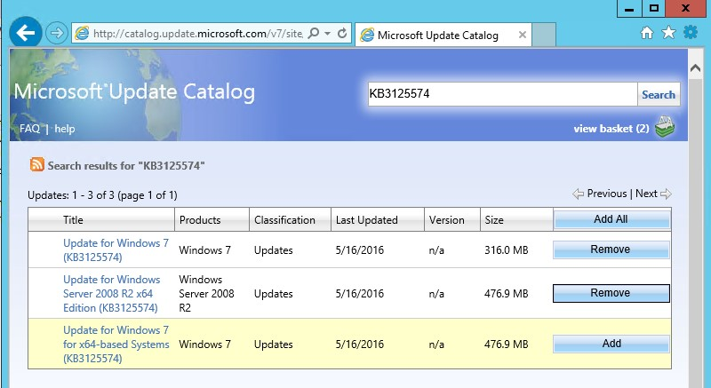 search for hotfix in Microsoft Update Catalog