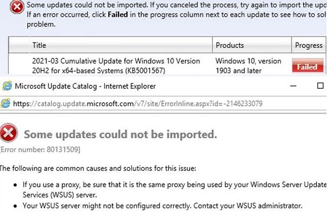 wsus import update error: failed error number 80131509