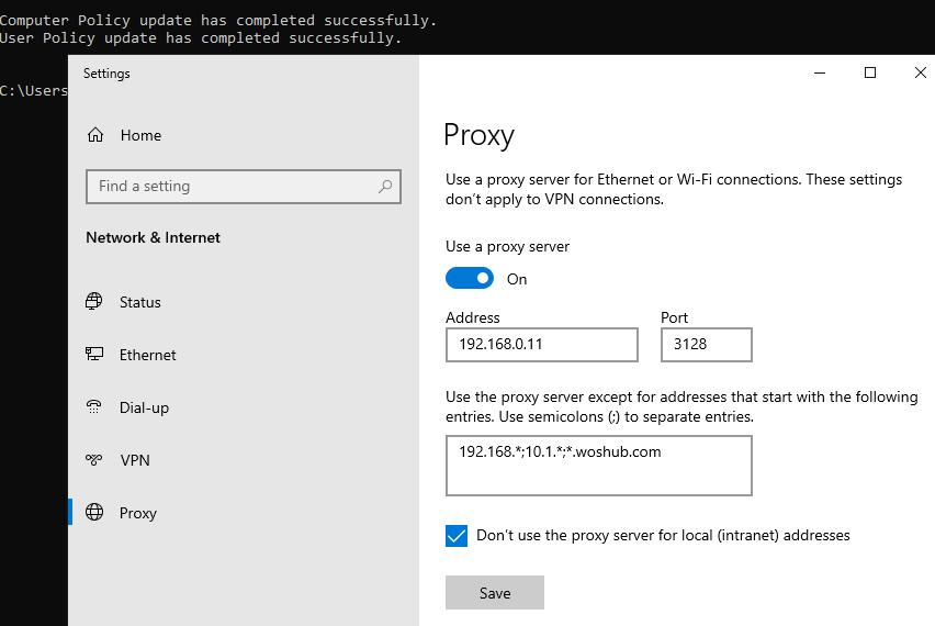 check proxy server settings on windows 10
