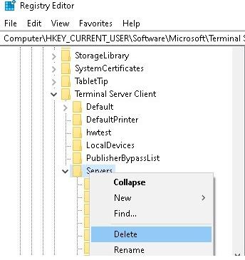 delete recent rdp servers in registry