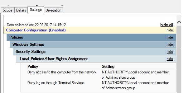deny network access under local admins accounts