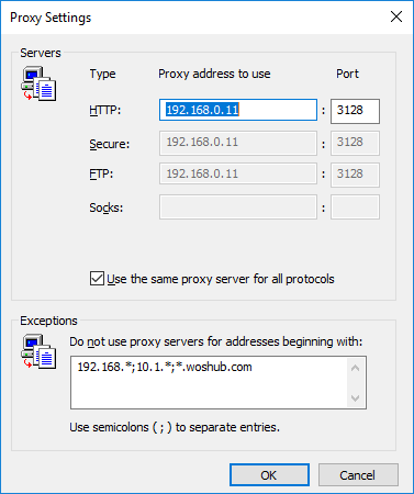 do not use proxy servers for addressing begining with - proxy exclusions