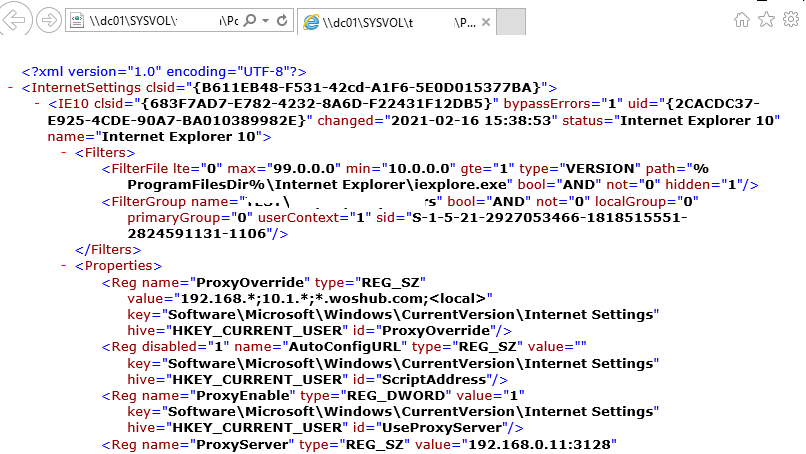 ie version support in gpo config file